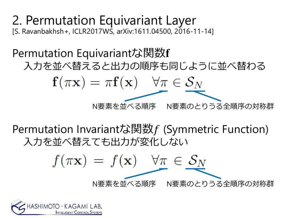 2. Permutation Equivariant Layer [S. Ravanbakhs...