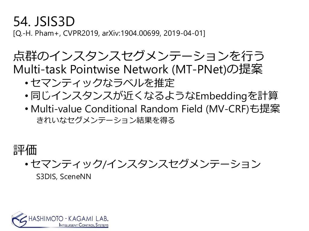 54. JSIS3D [Q.-H. Pham+, CVPR2019, arXiv:1904.0...
