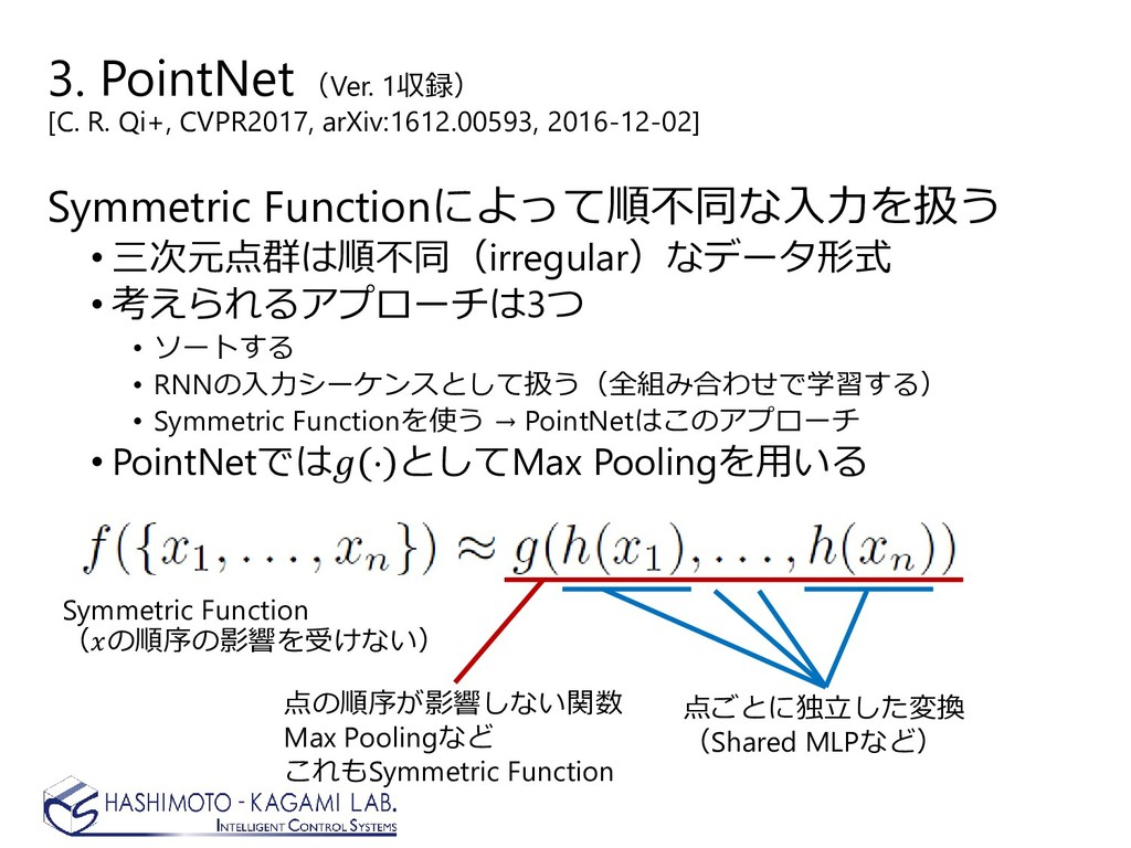 3. PointNet(Ver. 1収録) [C. R. Qi+, CVPR2017, arX...