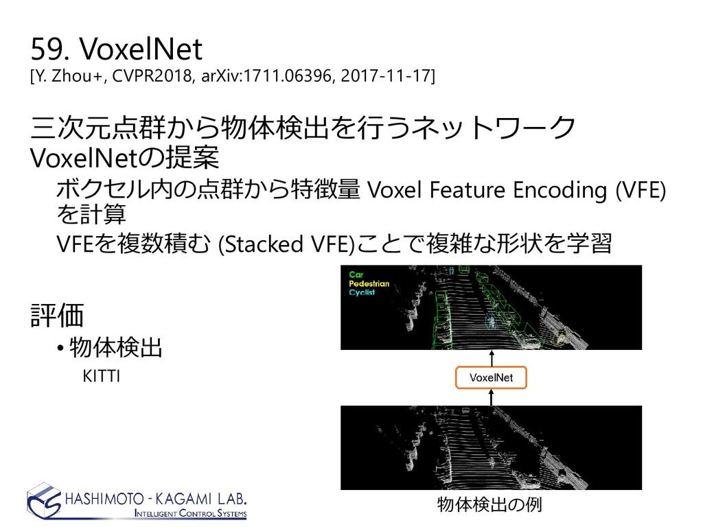 59. VoxelNet [Y. Zhou+, CVPR2018, arXiv:1711.06...