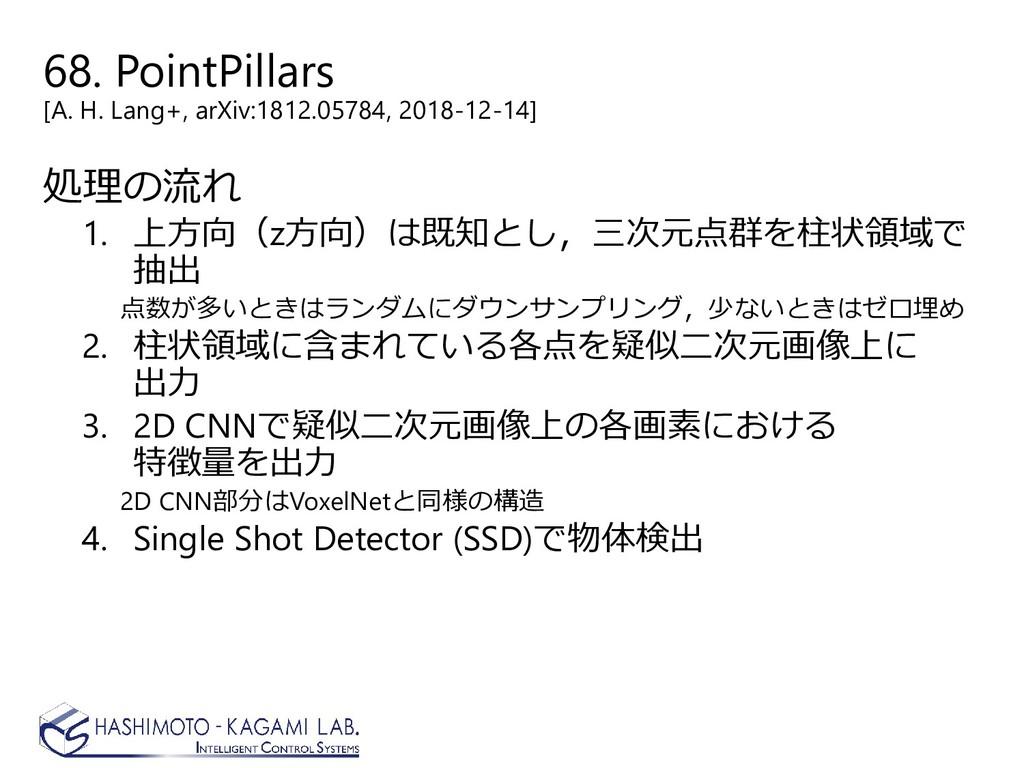 68. PointPillars [A. H. Lang+, arXiv:1812.05784...