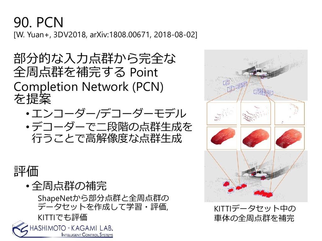90. PCN [W. Yuan+, 3DV2018, arXiv:1808.00671, 2...