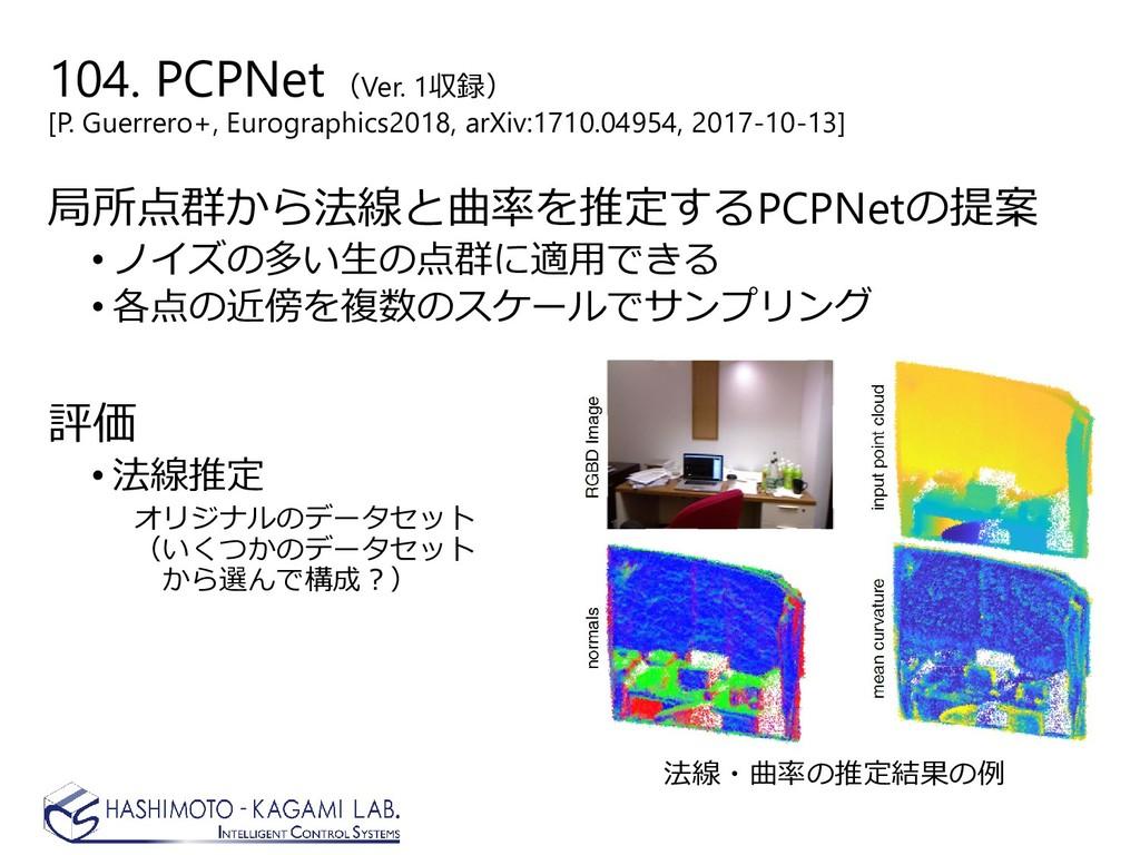 104. PCPNet(Ver. 1収録) [P. Guerrero+, Eurographi...