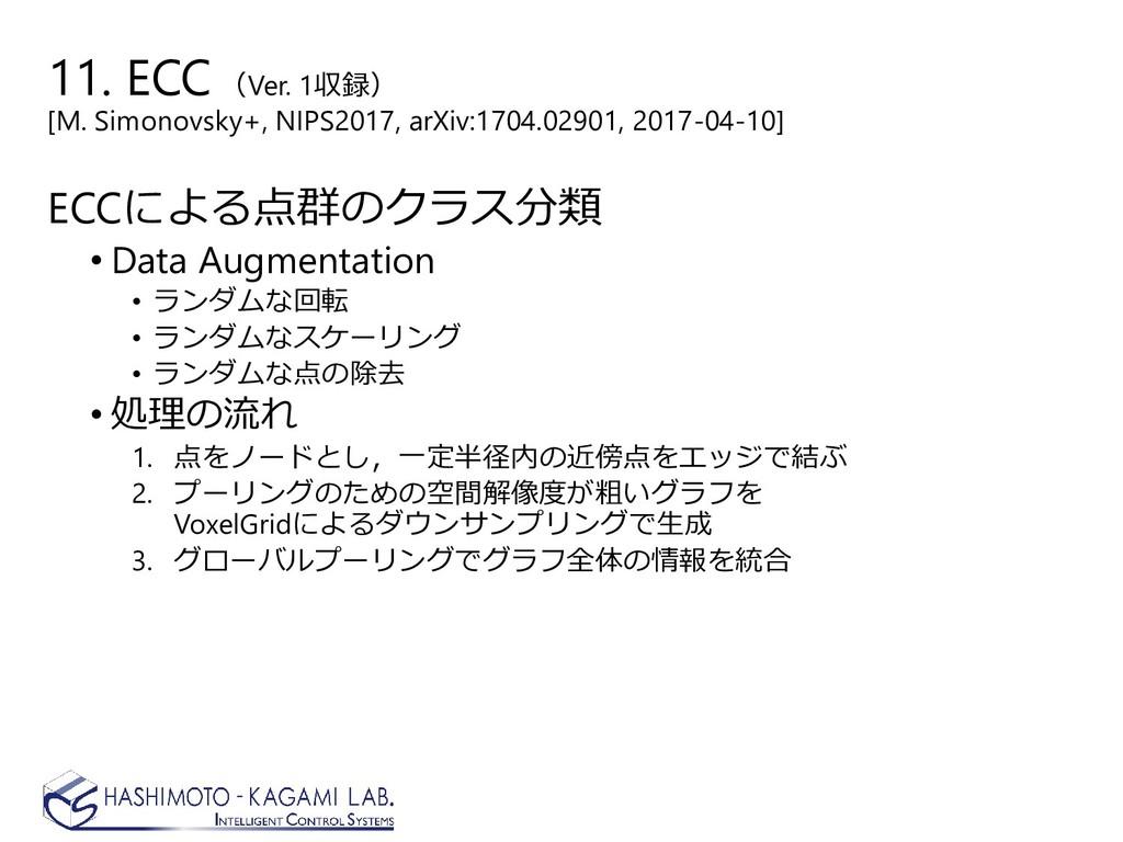 ECCによる点群のクラス分類 • Data Augmentation • ランダムな回転 • ...