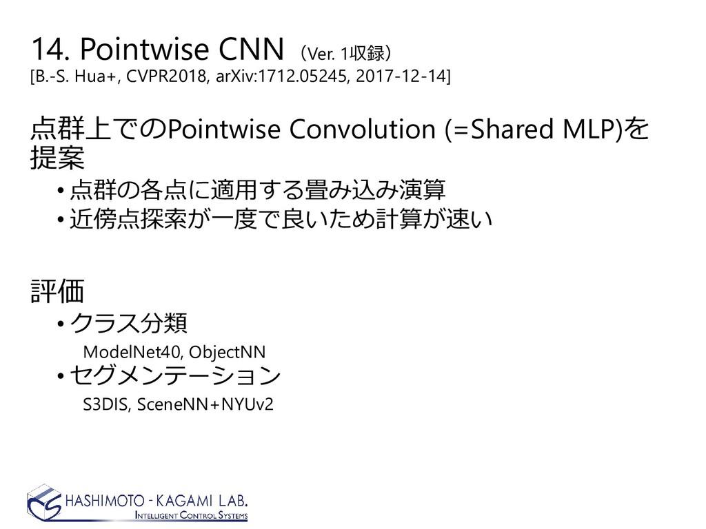 14. Pointwise CNN (Ver. 1収録) [B.-S. Hua+, CVPR2...