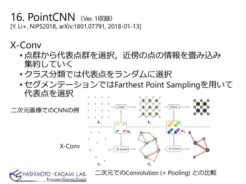 16. PointCNN (Ver. 1収録) [Y. Li+, NIPS2018, arXi...