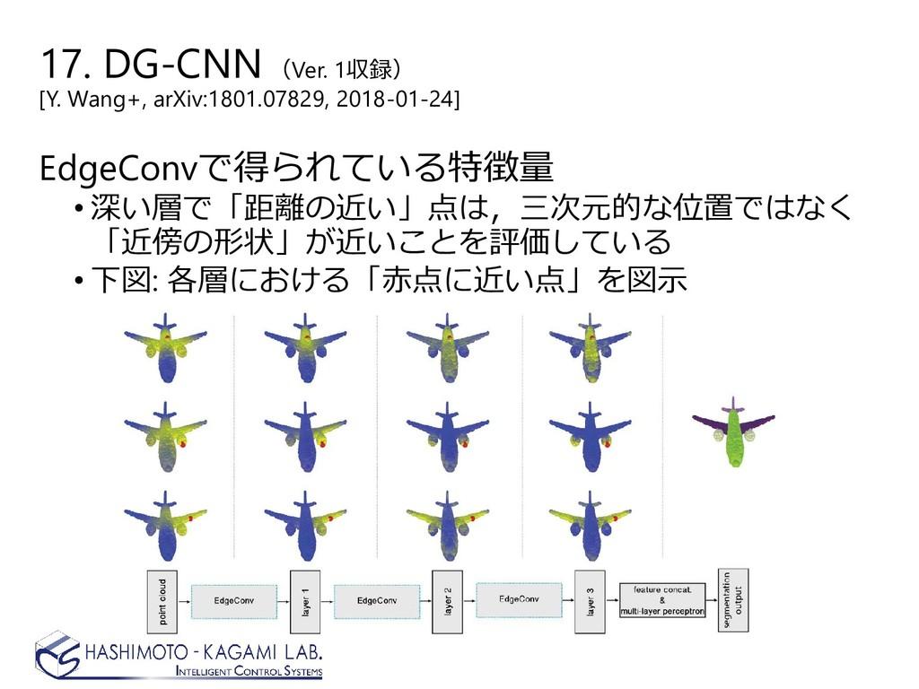 EdgeConvで得られている特徴量 • 深い層で「距離の近い」点は,三次元的な位置ではなく ...
