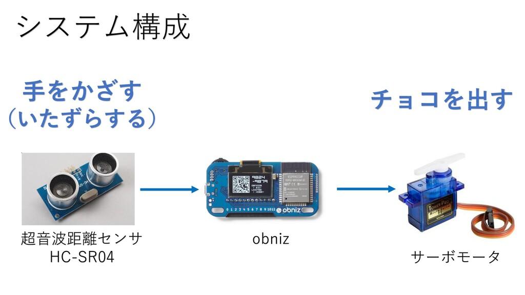 システム構成 超音波距離センサ HC-SR04 obniz サーボモータ 手をかざす (いたず...