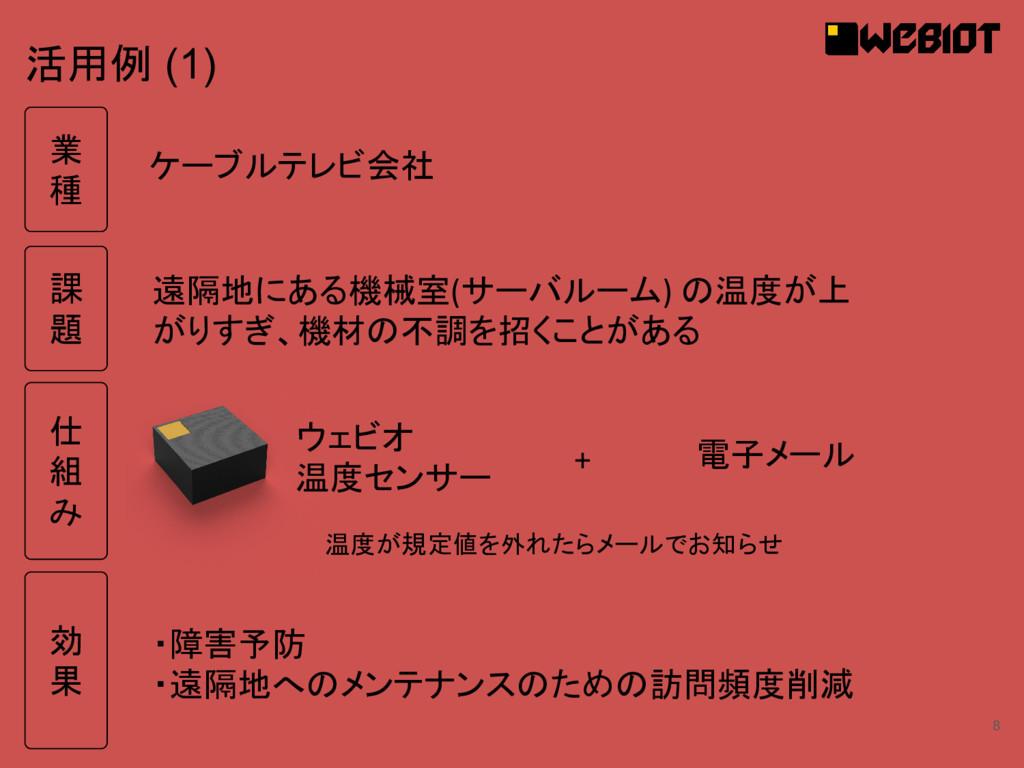 8 活用例 (1) ウェビオ 温度センサー 遠隔地にある機械室(サーバルーム) の温度が上 が...