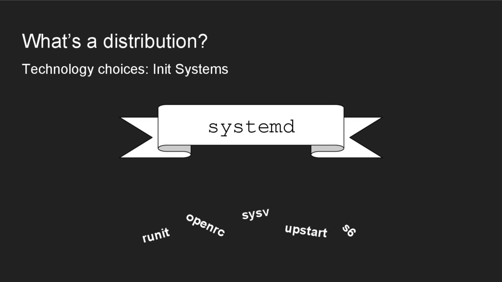 What's a distribution? Technology choices: Init...