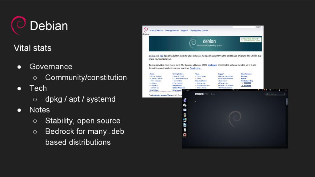 Debian Vital stats ● Governance ○ Community/con...