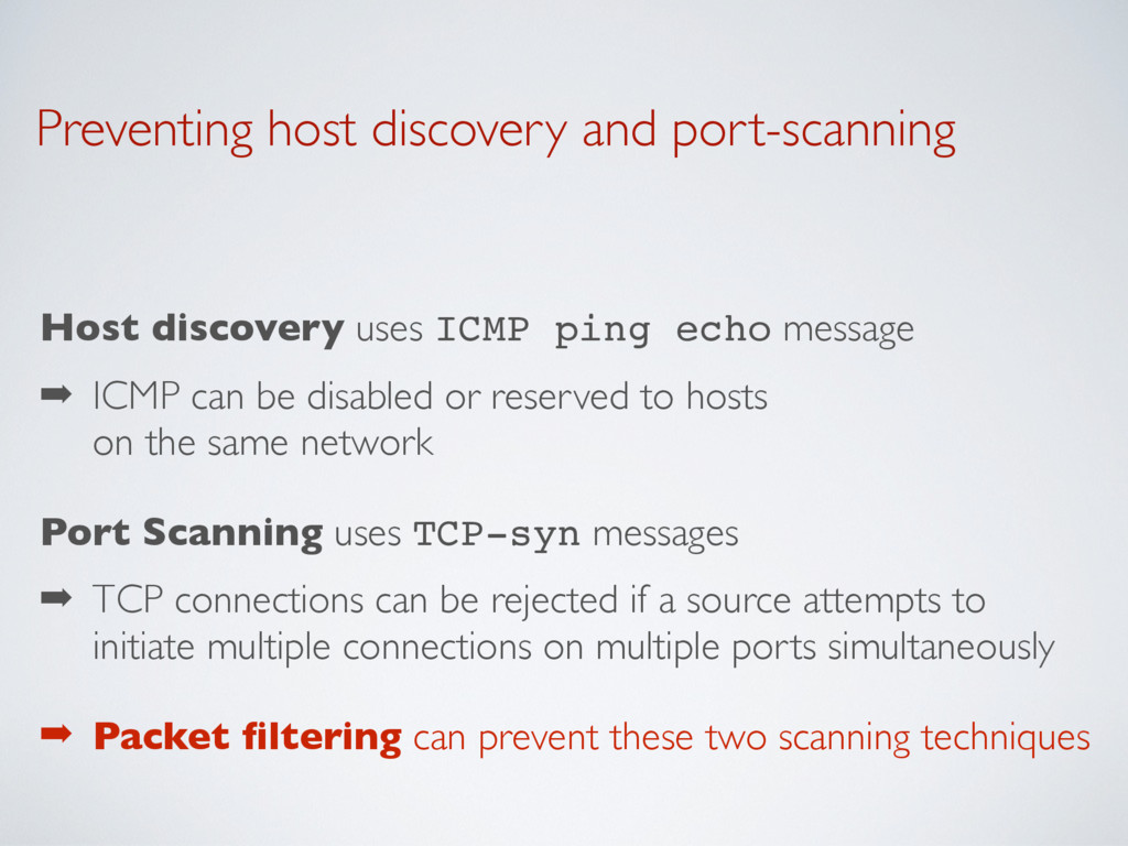 Preventing host discovery and port-scanning Hos...