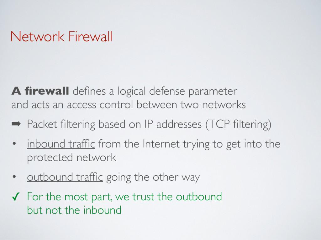 Network Firewall A firewall defines a logical def...