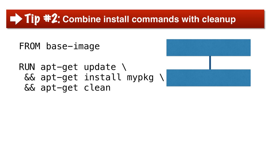FROM base-image RUN apt-get update \ && apt-get...