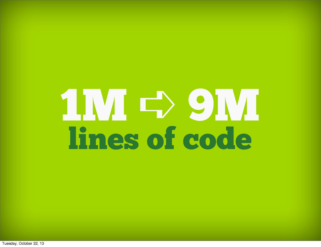 lines of code 1M ➪ 9M Tuesday, October 22, 13