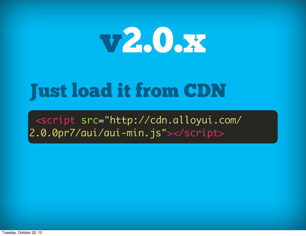 "v2.0.x Just load it from CDN <script src=""http:..."