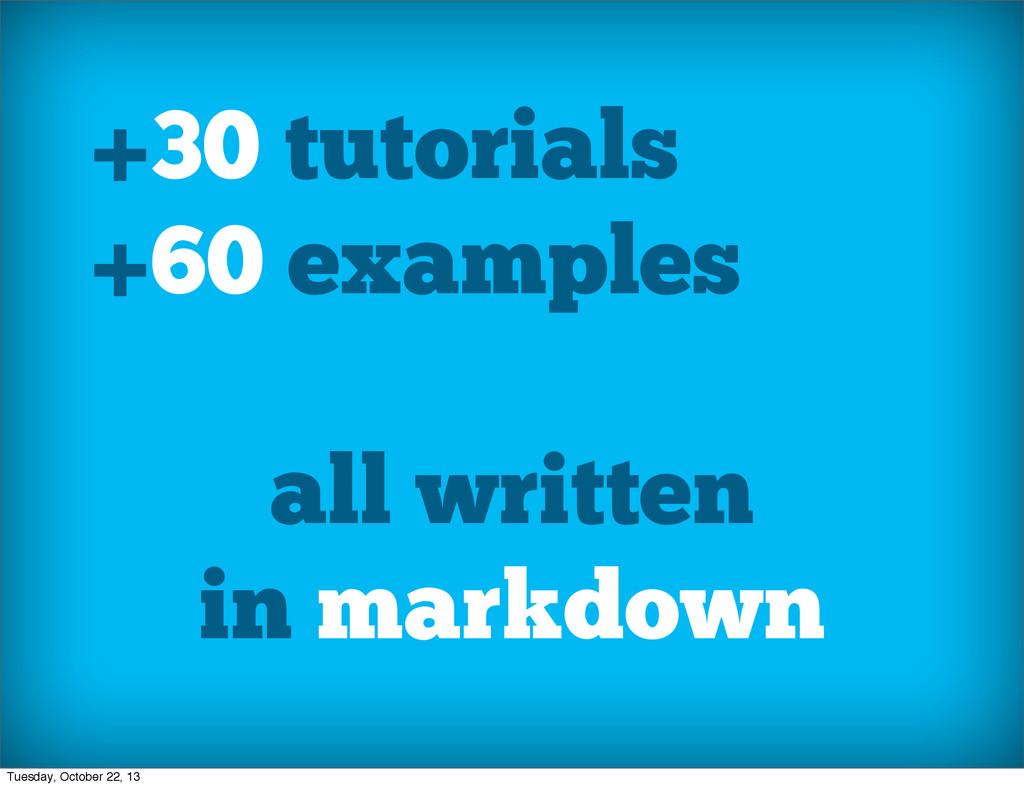 +30 tutorials +60 examples all written in markd...