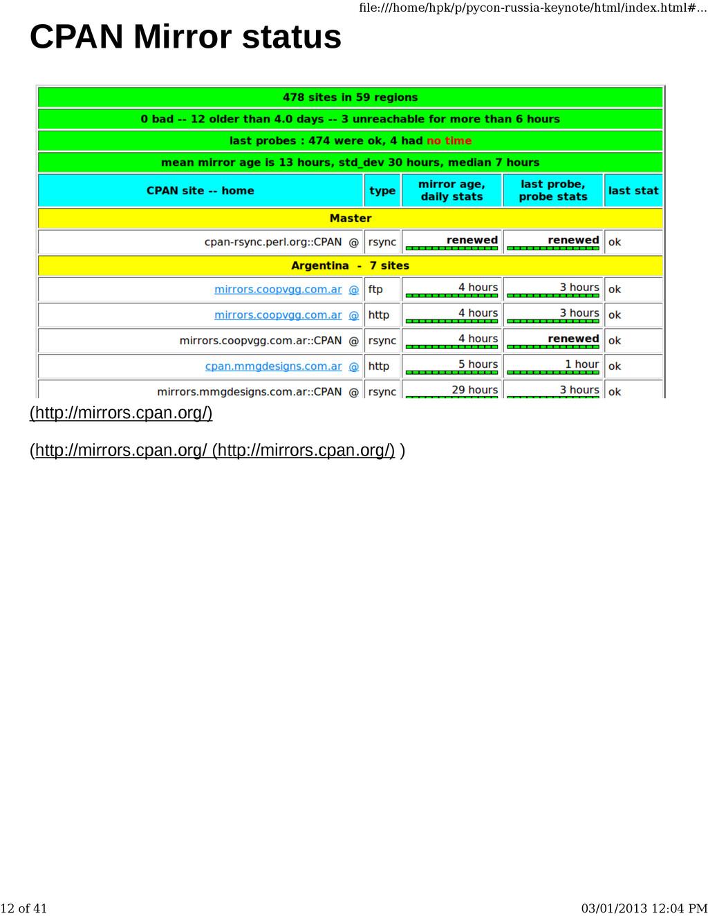 CPAN Mirror status (http://mirrors.cpan.org/) (...