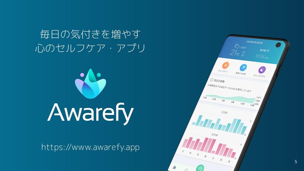 毎日の気付きを増やす 心のセルフケア・アプリ 5 https://www.awarefy.app