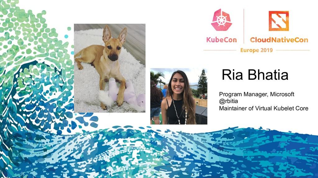 Ria Bhatia Program Manager, Microsoft @rbitia M...