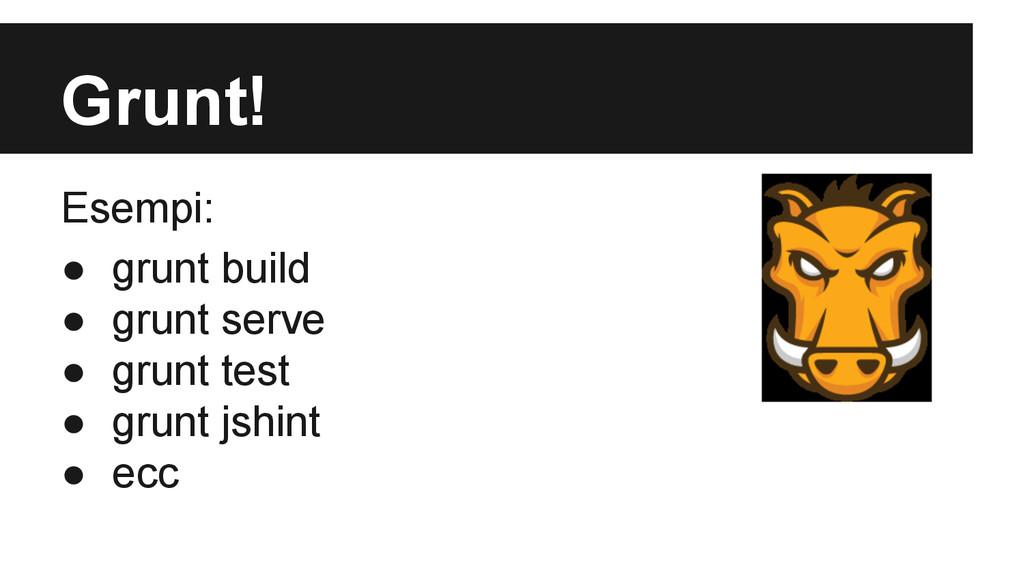 Grunt! Esempi: ● grunt build ● grunt serve ● gr...