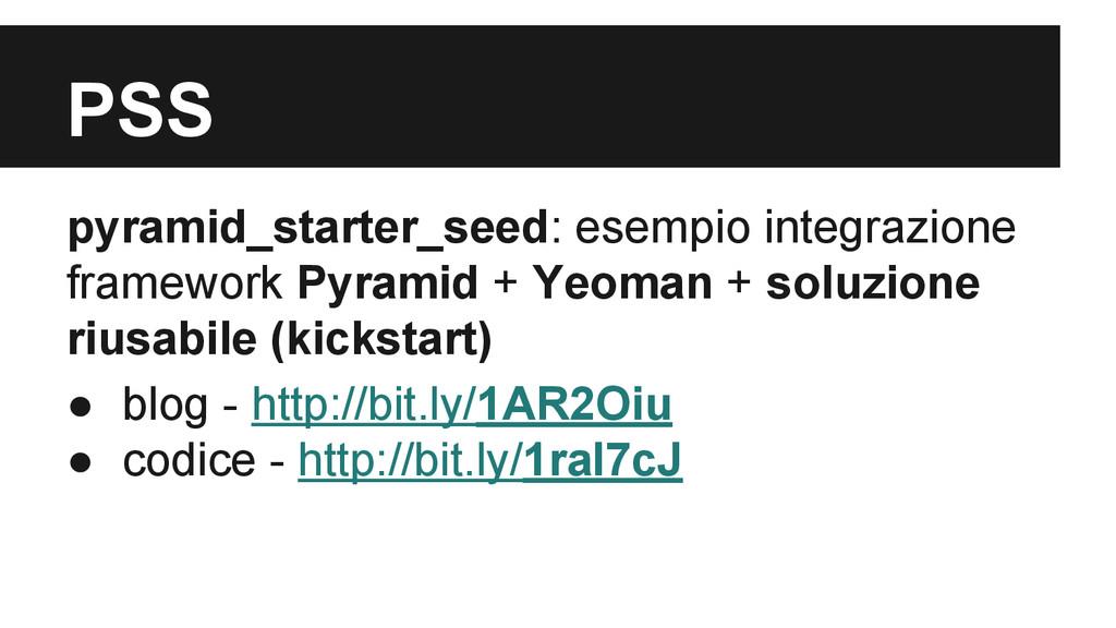 PSS pyramid_starter_seed: esempio integrazione ...