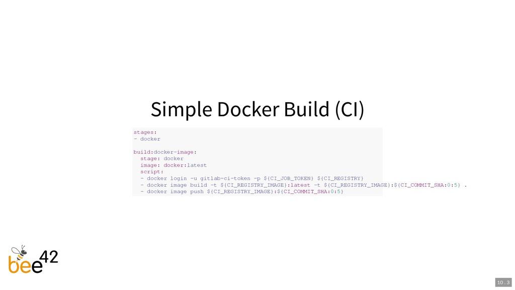 Simple Docker Build (CI) stages: - docker build...