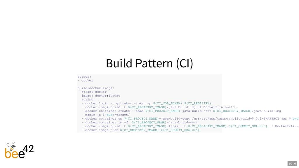 Build Pattern (CI) stages: - docker build:docke...