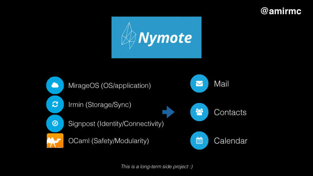 Why I care MirageOS (OS/application) Irmin (Sto...