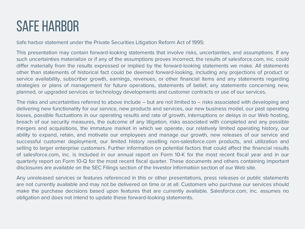 SAFE HARBOR Safe harbor statement under the Pri...