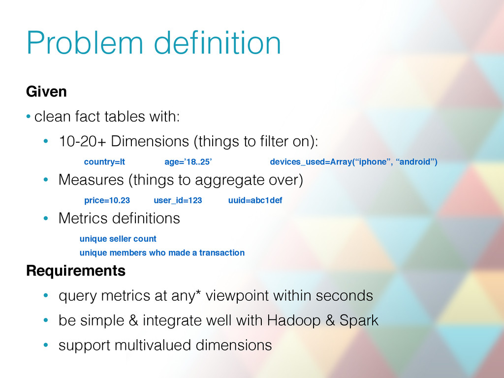Problem definition Given • clean fact tables wit...