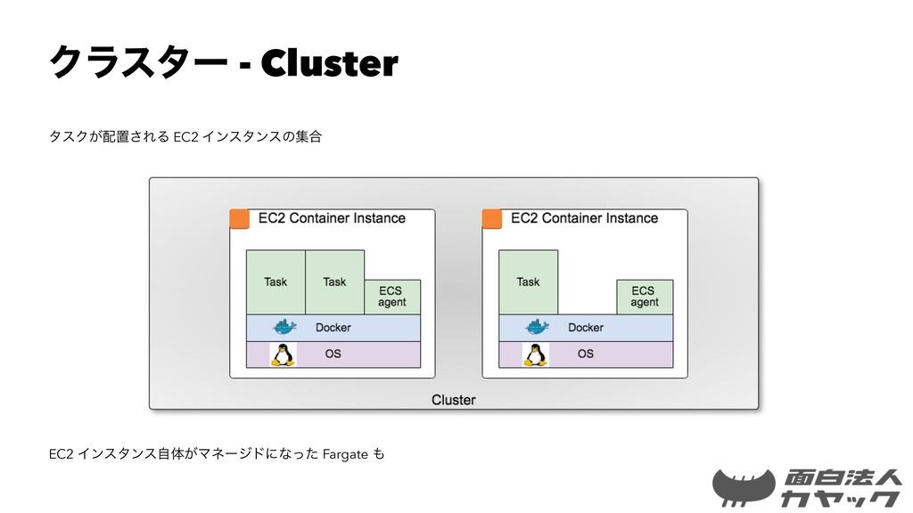 Ϋϥελʔ - Cluster λεΫ͕ஔ͞ΕΔ EC2 Πϯελϯεͷू߹ EC2 Πϯε...
