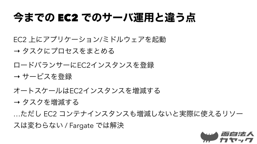 ࠓ·Ͱͷ EC2 Ͱͷαʔόӡ༻ͱҧ͏ EC2 ্ʹΞϓϦέʔγϣϯ/ϛυϧΣΞΛىಈ →...