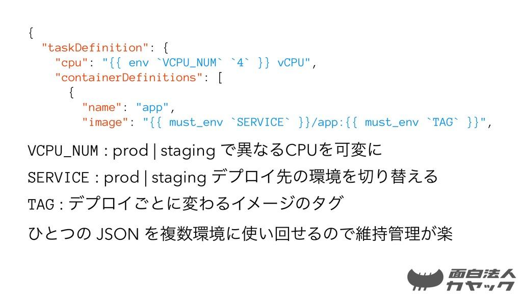 "{ ""taskDefinition"": { ""cpu"": ""{{ env `VCPU_NUM`..."