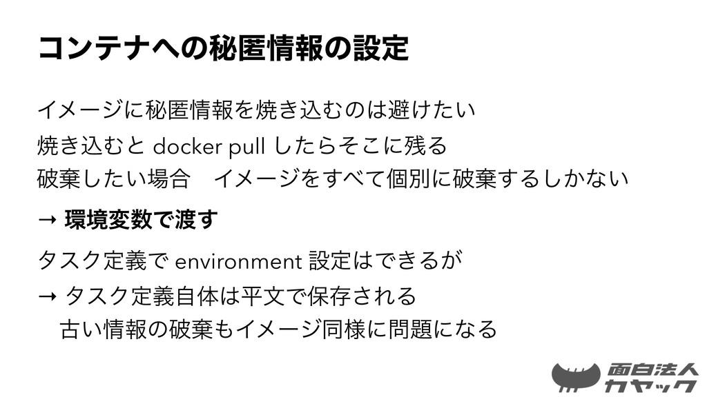ίϯςφͷൿಗใͷઃఆ ΠϝʔδʹൿಗใΛম͖ࠐΉͷආ͚͍ͨ ম͖ࠐΉͱ docker...
