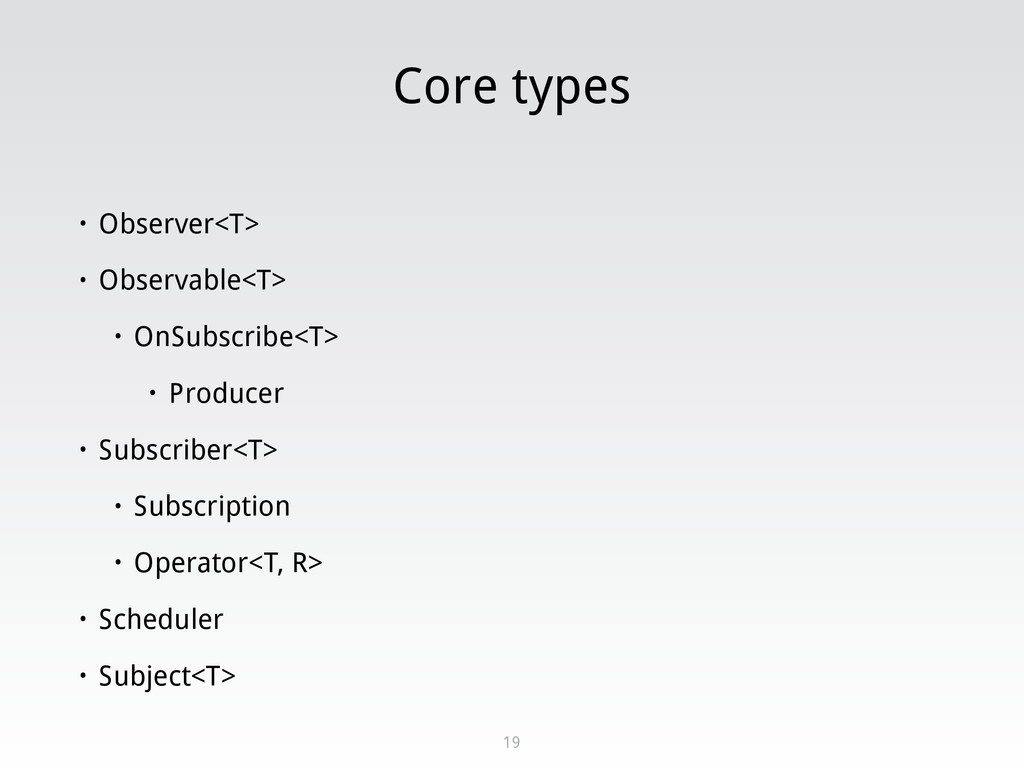 Core types • Observer<T> • Observable<T> • OnSu...