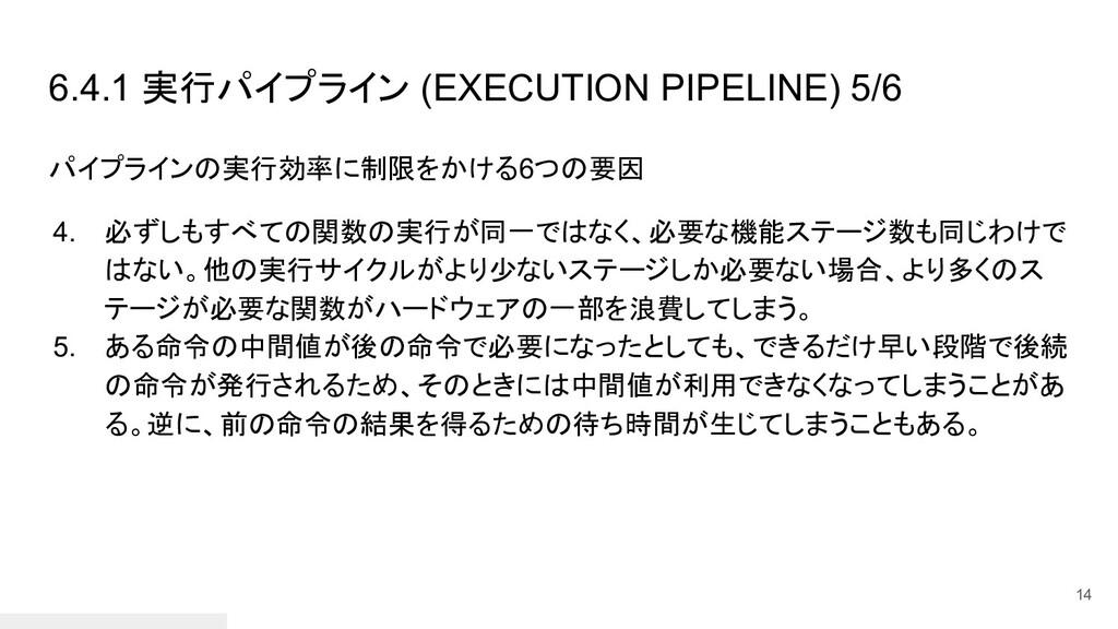 6.4.1 実行パイプライン (EXECUTION PIPELINE) 5/6 パイプラインの...