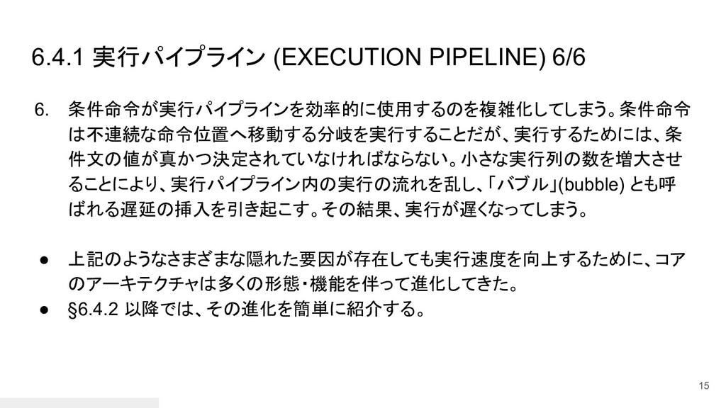 6.4.1 実行パイプライン (EXECUTION PIPELINE) 6/6 6. 条件命令...