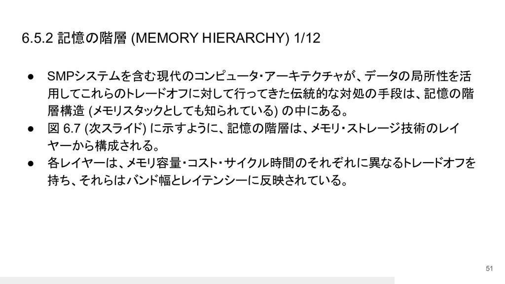 6.5.2 記憶の階層 (MEMORY HIERARCHY) 1/12 ● SMPシステムを含...