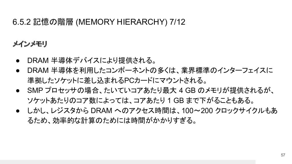 6.5.2 記憶の階層 (MEMORY HIERARCHY) 7/12 メインメモリ ● DR...