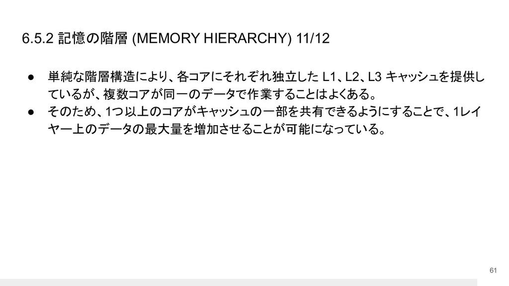 6.5.2 記憶の階層 (MEMORY HIERARCHY) 11/12 ● 単純な階層構造に...