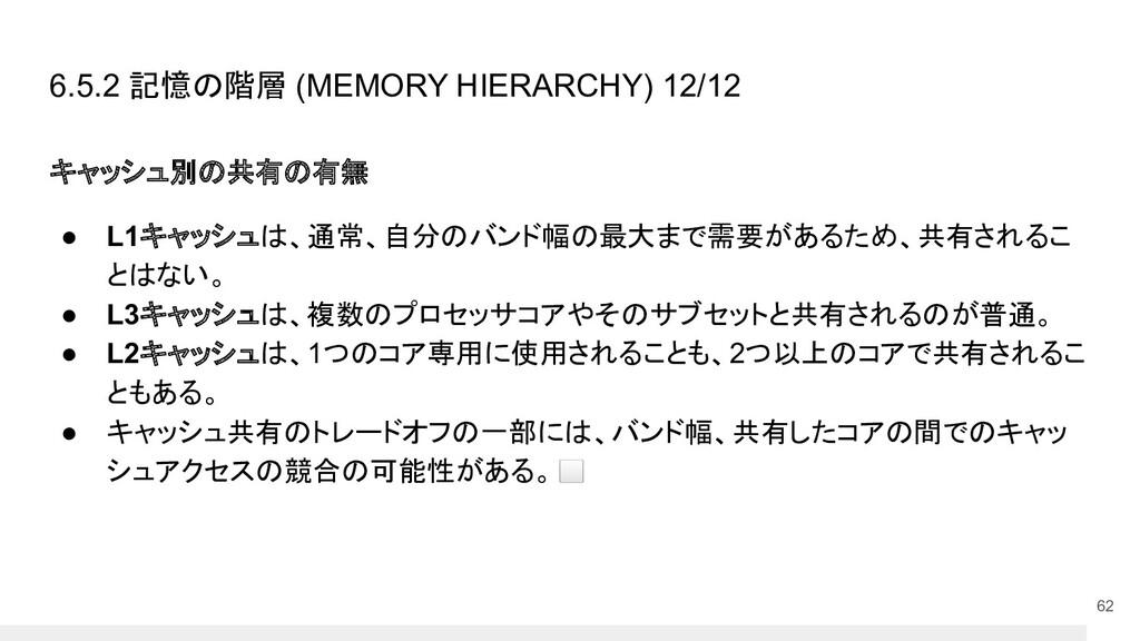 6.5.2 記憶の階層 (MEMORY HIERARCHY) 12/12 キャッシュ別の共有の...