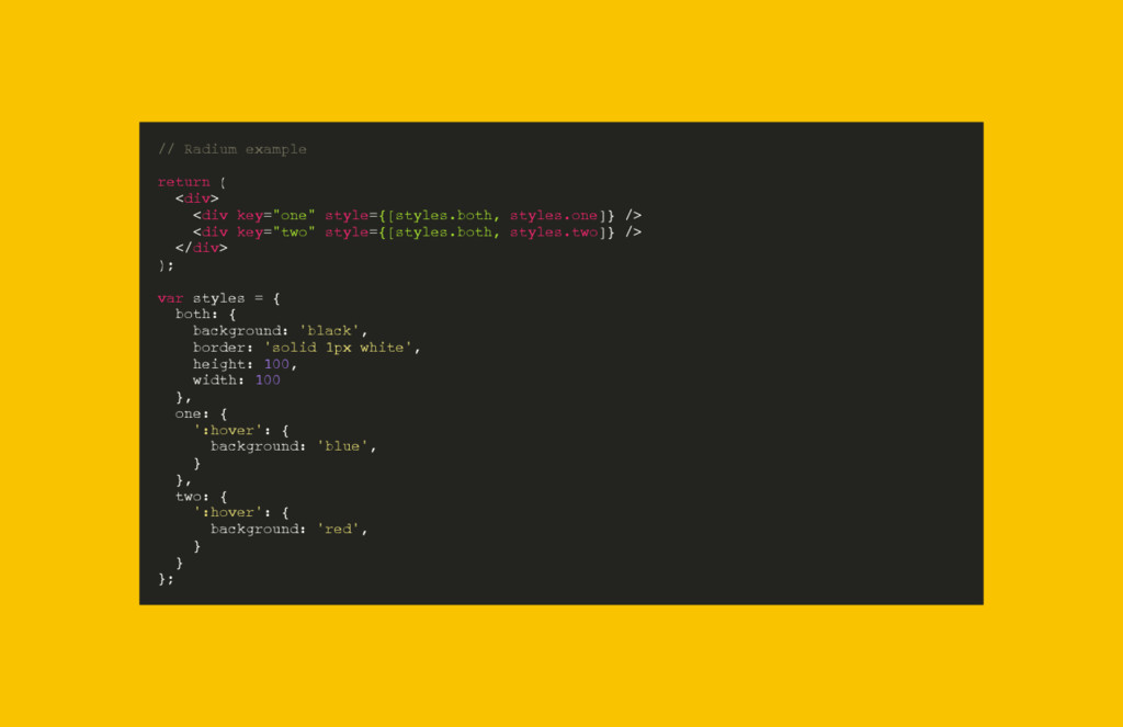 "// Radium example return ( <div> <div key=""one""..."