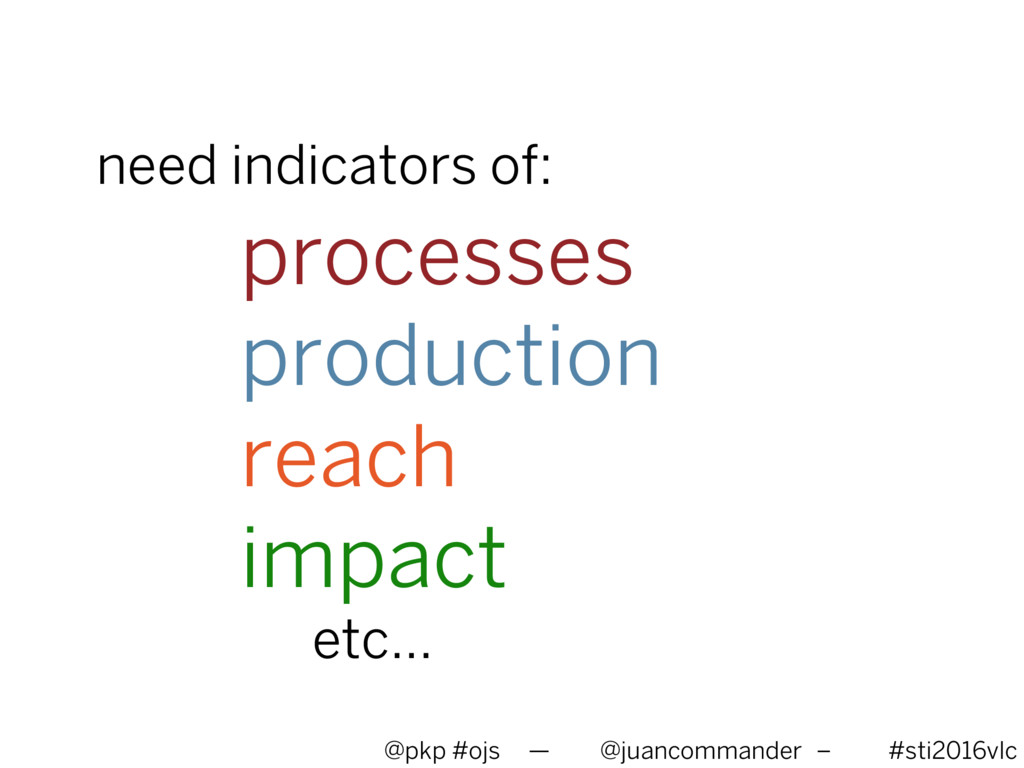 need indicators of: processes production reach ...
