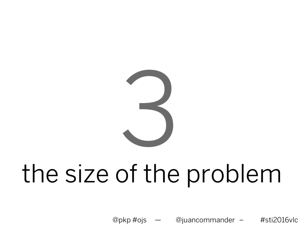 3 the size of the problem @pkp #ojs — @juancomm...