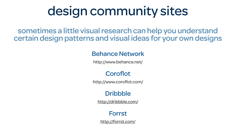 design community sites sometimes a little visua...