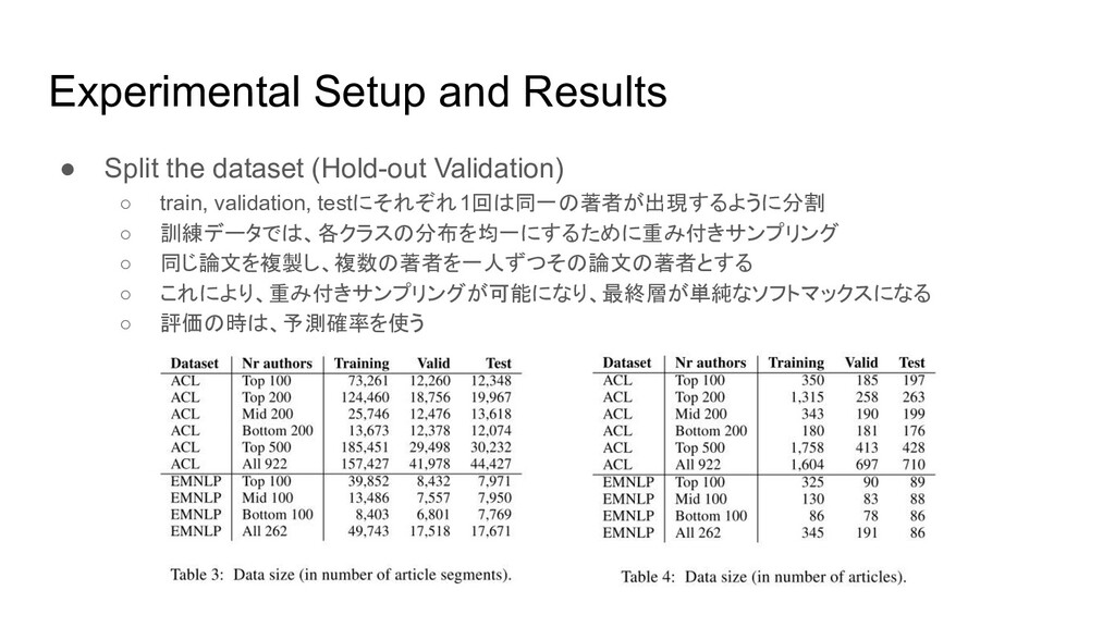 Experimental Setup and Results ● Split the data...