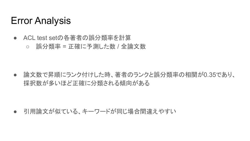 Error Analysis ● ACL test setの各著者の誤分類率を計算 ○ 誤分類...