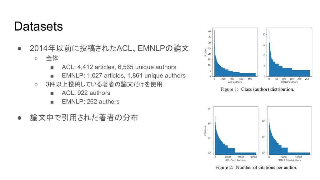 Datasets ● 2014年以前に投稿されたACL、EMNLPの論文 ○ 全体 ■ ACL...