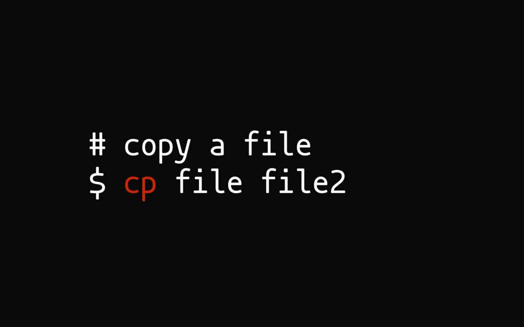 # copy a file $ cp file file2